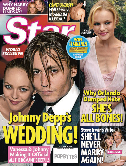 which features johnny depp's wedding plans with his gal vanessa paradis!