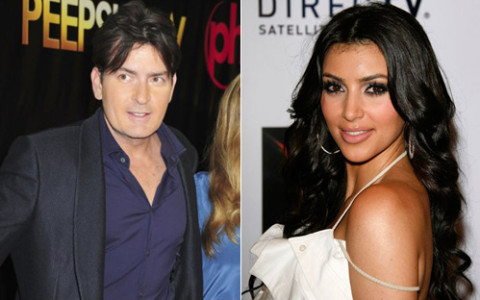 Charlie Sheen and Kim Kardashian