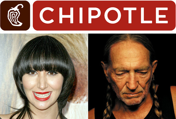 Karen O + Chipotle + Willie Nelson = Yes