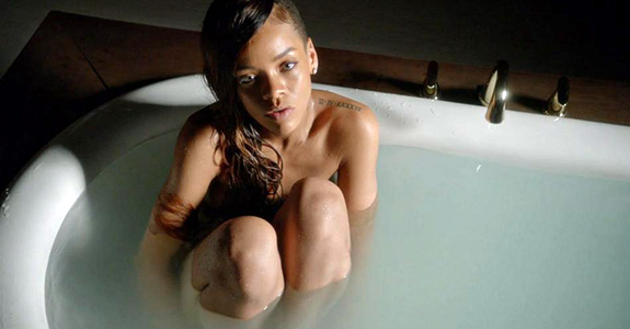 """Rihanna gets naked in a tub for the """"Stay"""" video"""