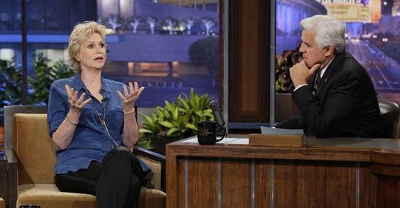 Jane Lynch and Jay Leno