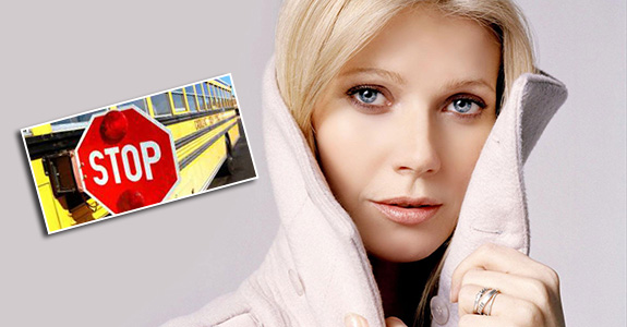 Gwyneth Paltrow & Chris Martin cut off a school bus!