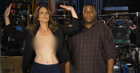 Tina Fey goes topless in a new SNL promo!