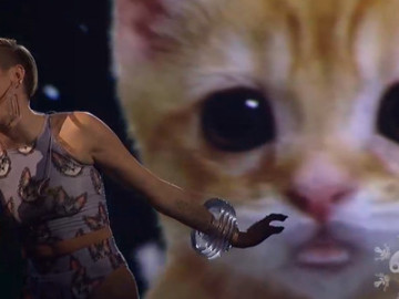 """Miley Cyrus performed """"Wrecking Ball"""" with a giant cat"""