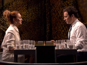 Lindsay Lohan got into a water war with Jimmy Fallon