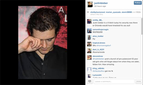 Orlando Bloom on Justin Bieber Instagram